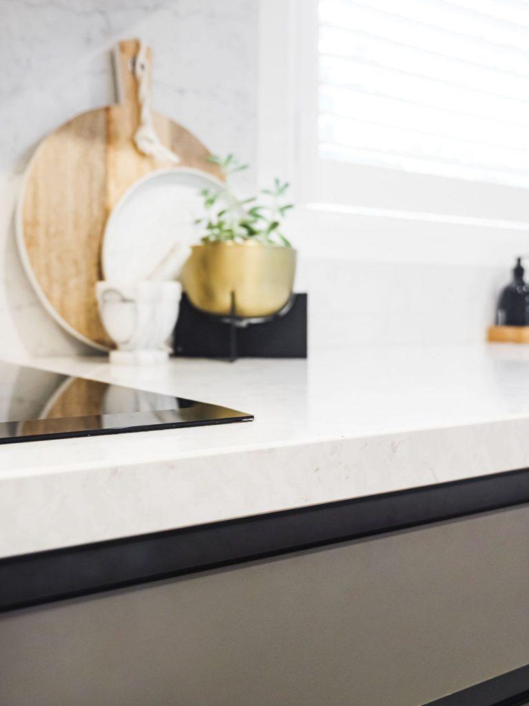 White stone benchtop in kitchen