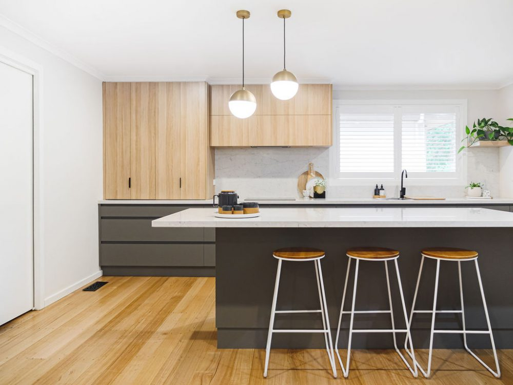 Grey and timber kitchen
