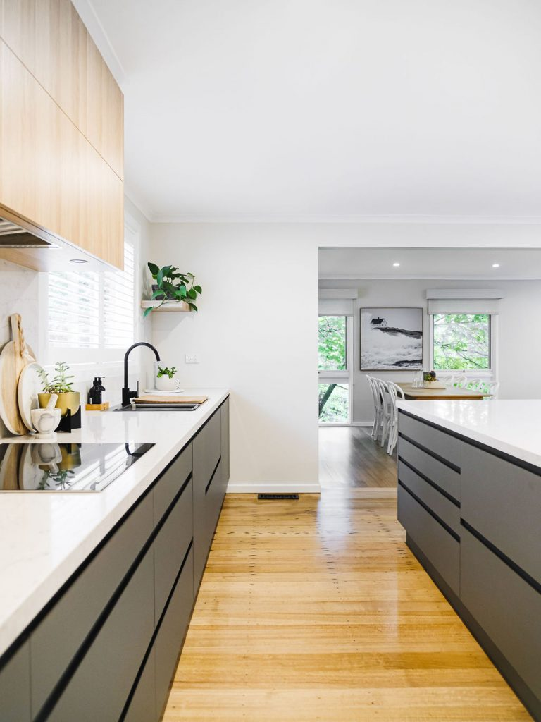 Timber flooring in timber and grey kitchen