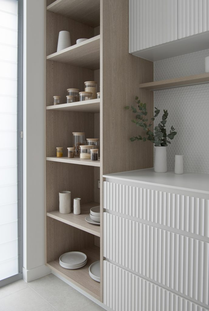Scalloped draws in walk in pantry
