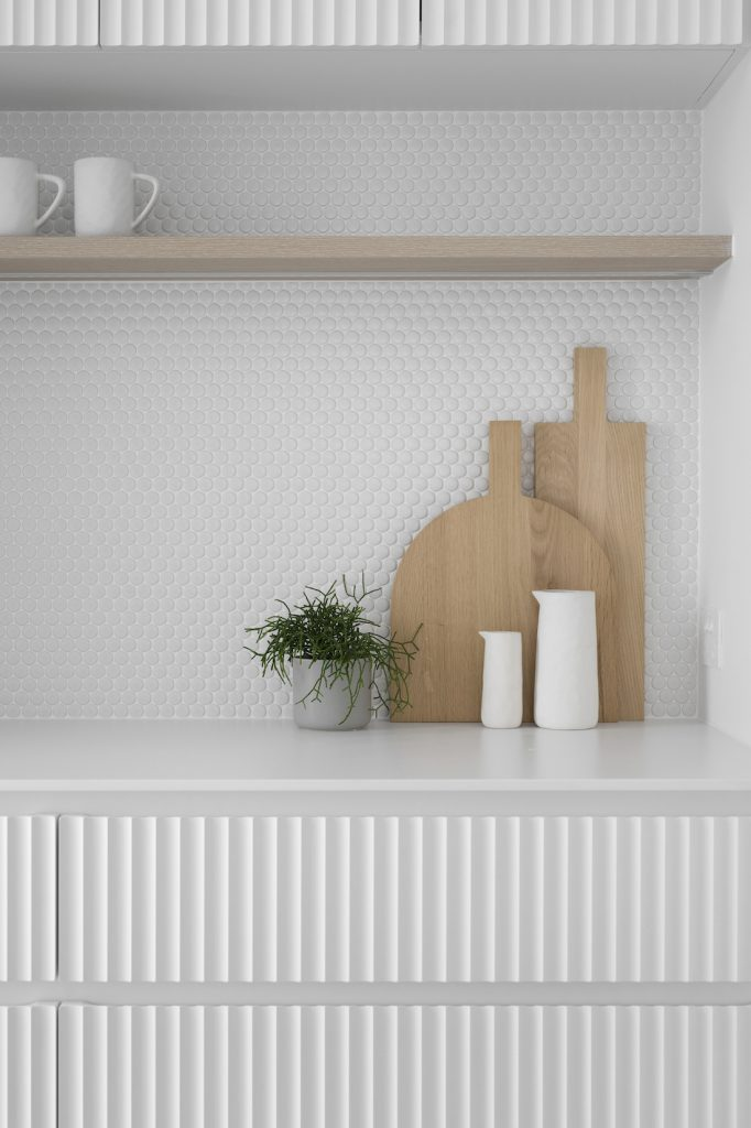 Wooden chopping board vignette in pantry