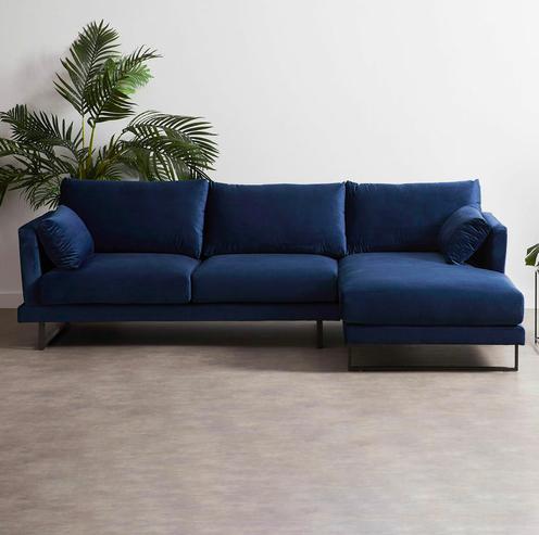 Navy velvet sofa with chaise
