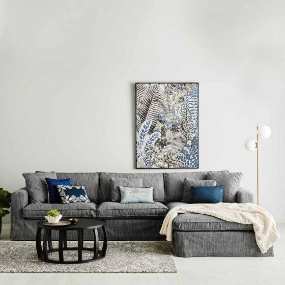 Chaise sofa in dark grey