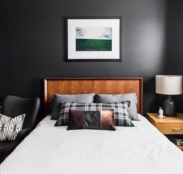 Black feature wall in bedroom