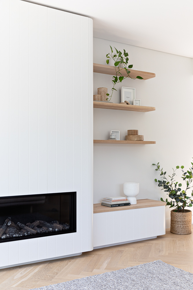 Fireplace and open shelving
