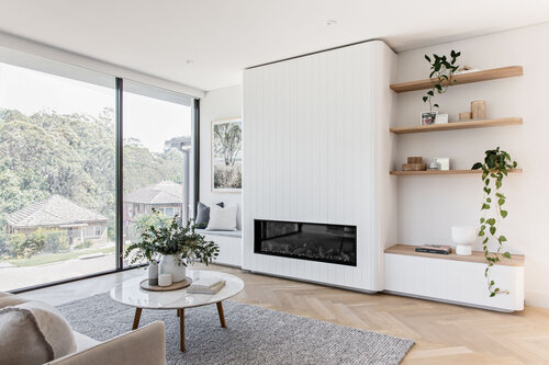 Custom joinery fireplace and shelving