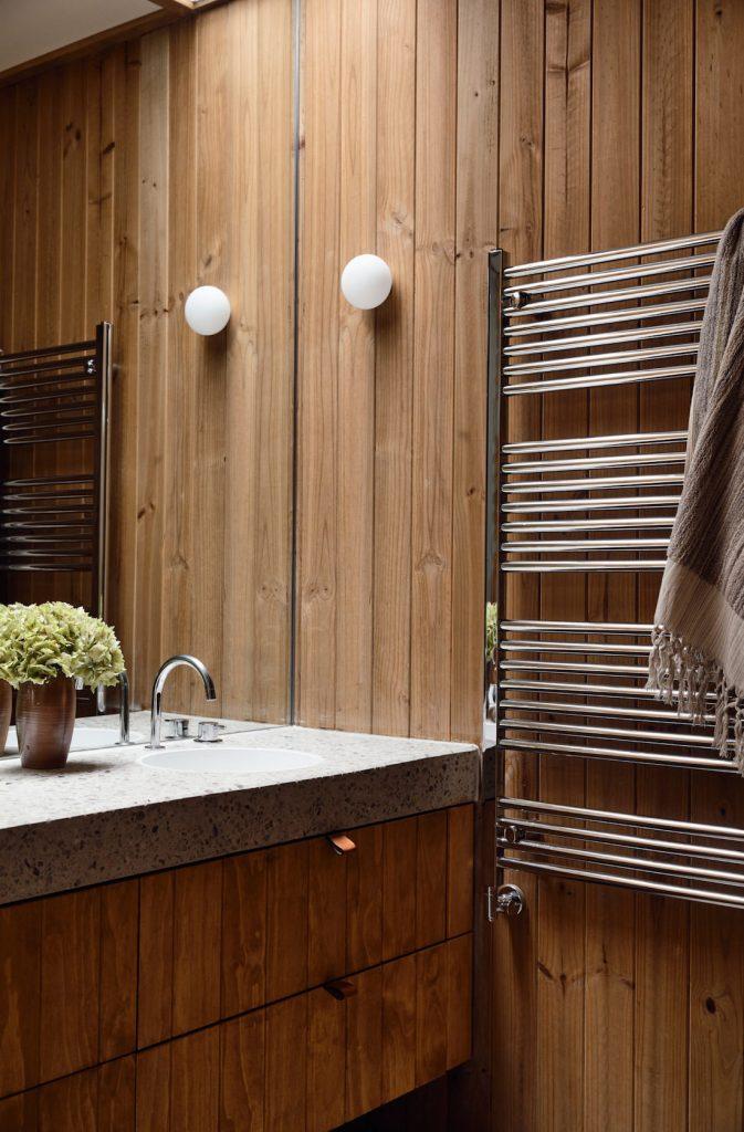 Wooden panelled bathroom