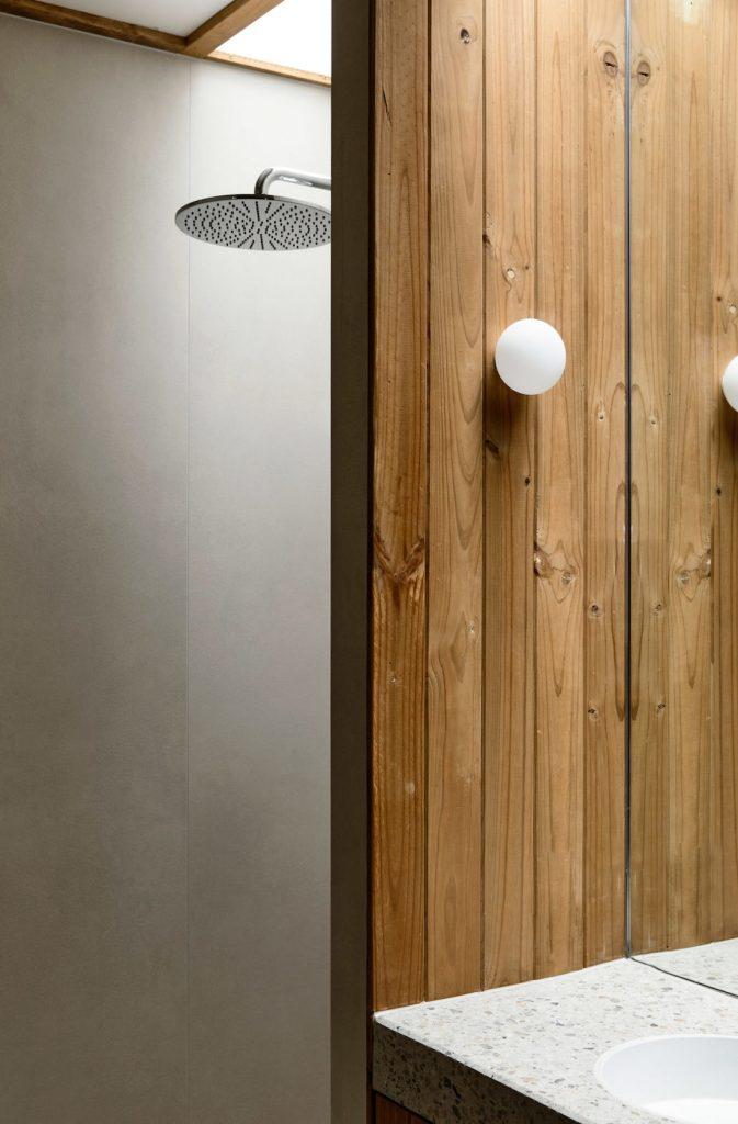Wood panelled bathroom
