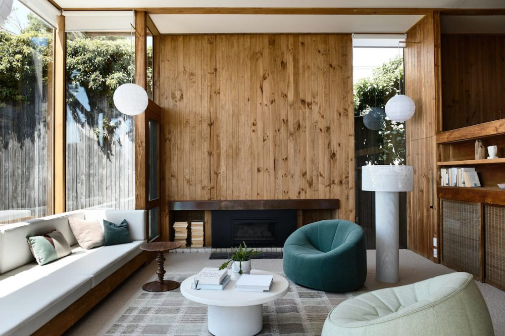 Timber panelled living area