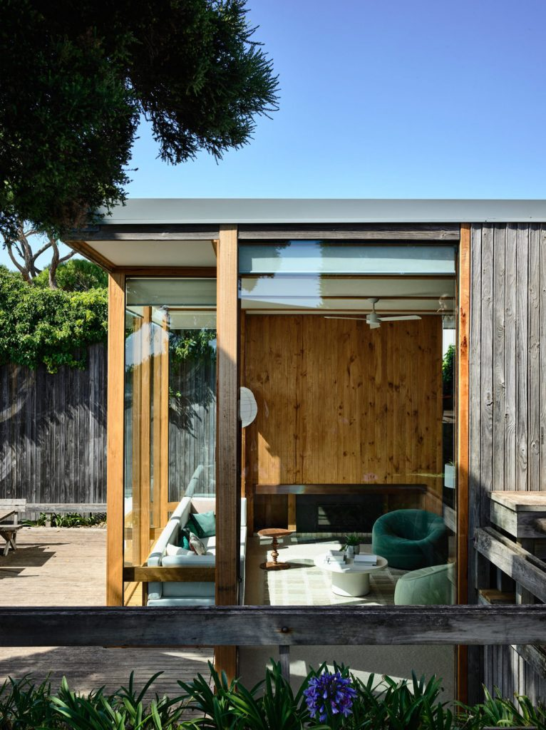 Glass and timber batten exterior walls