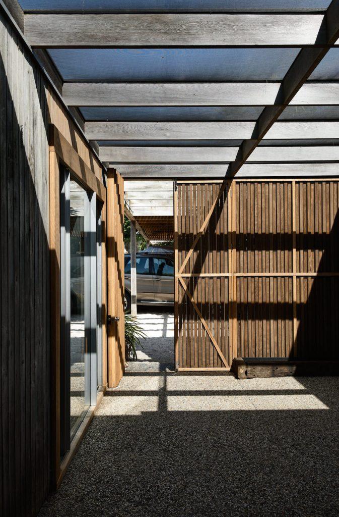 Timber sliding door on house exterior