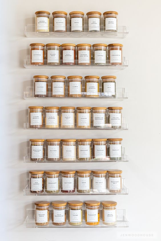 Clear spice rack organisation