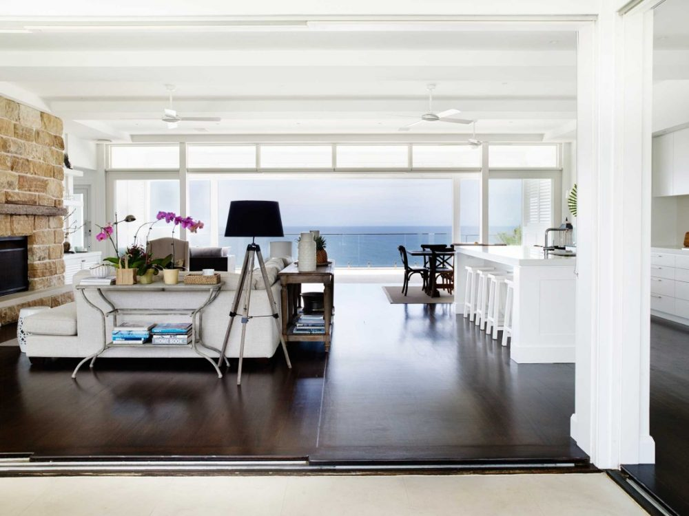 Coastal Hamptons home open plan living kitchen