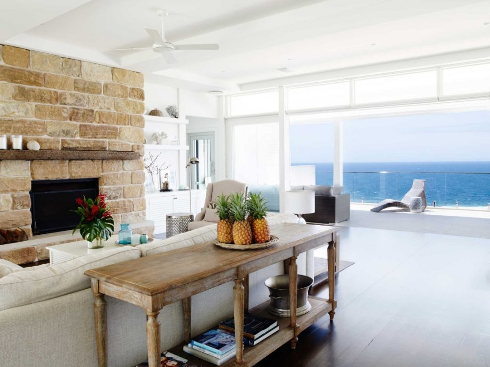 Coastal Hamptons home living room with ocean view