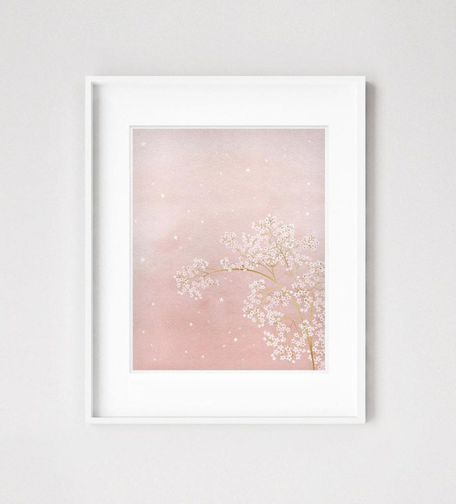 Dreams and Clouds botanical flowers children's bedroom art