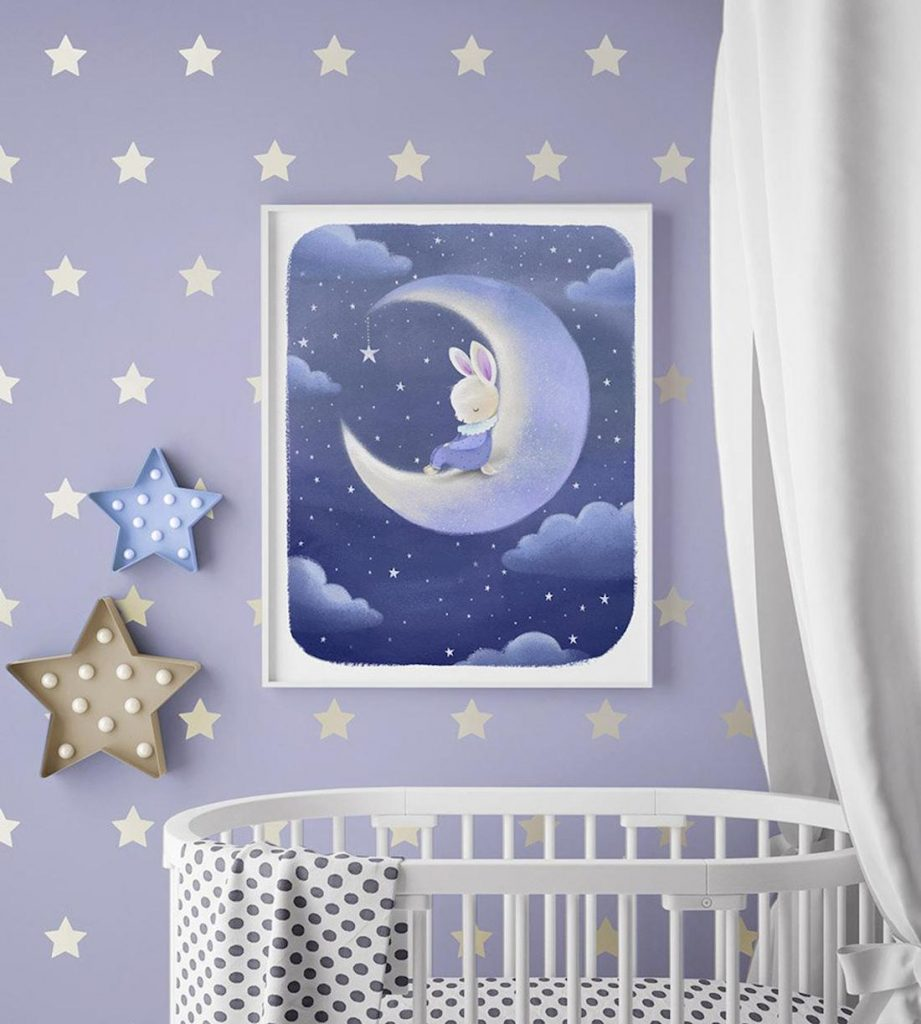 Dreams and Clouds bunny on the moon children's bedroom art