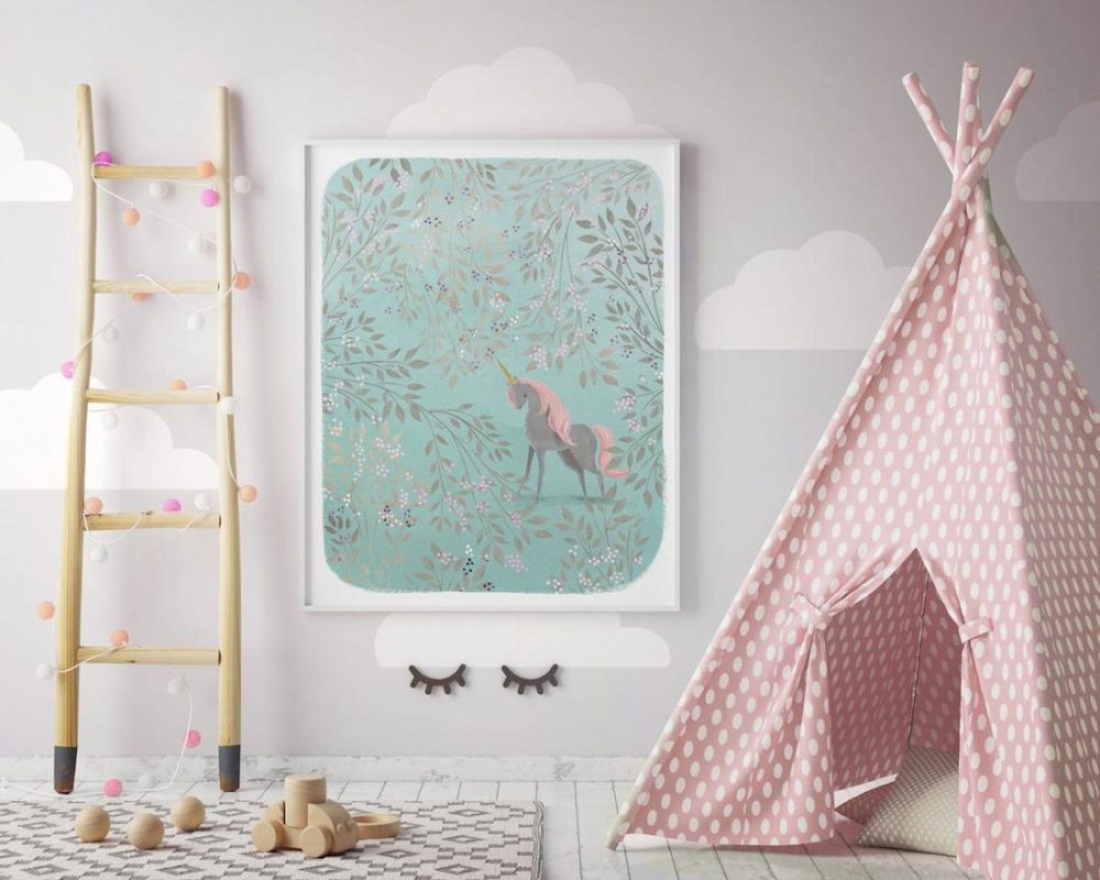 Dreams and Clouds unicorn children's bedroom art