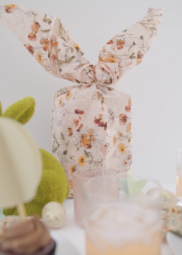 Finished bunny ear gift wrap Wrap a gift like a bunny using fabric