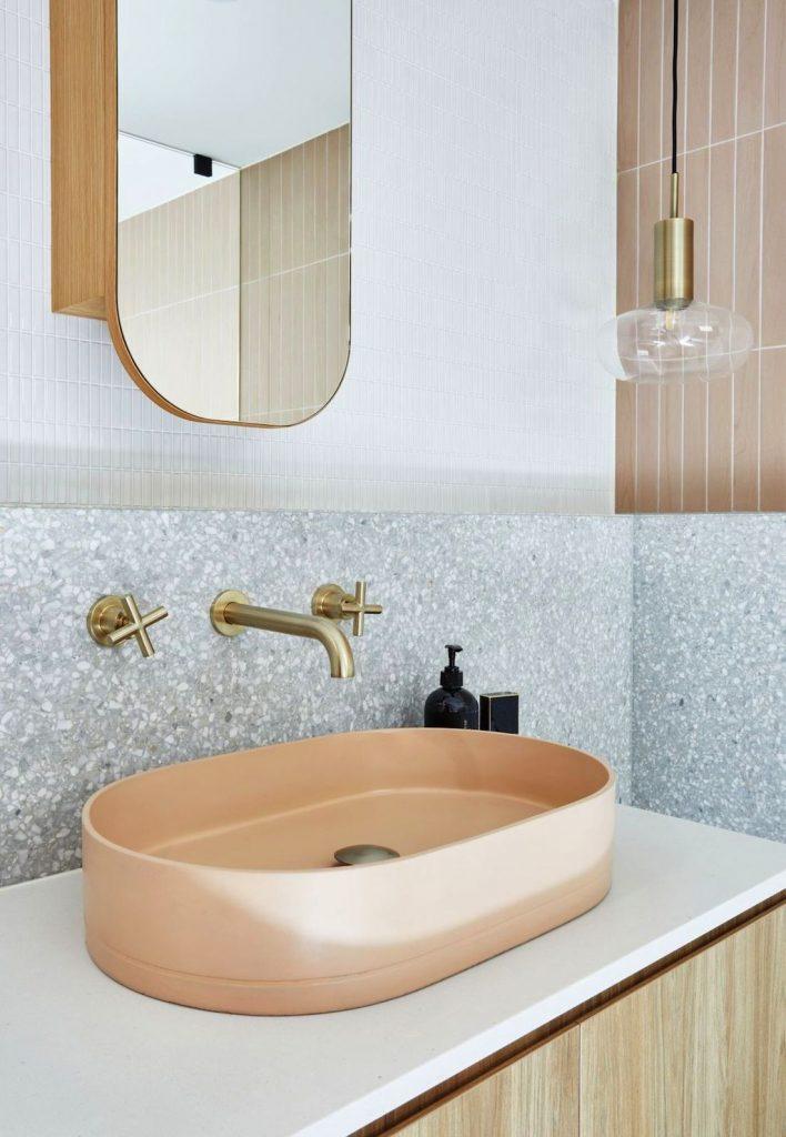 Terrazzo and pink bathroom