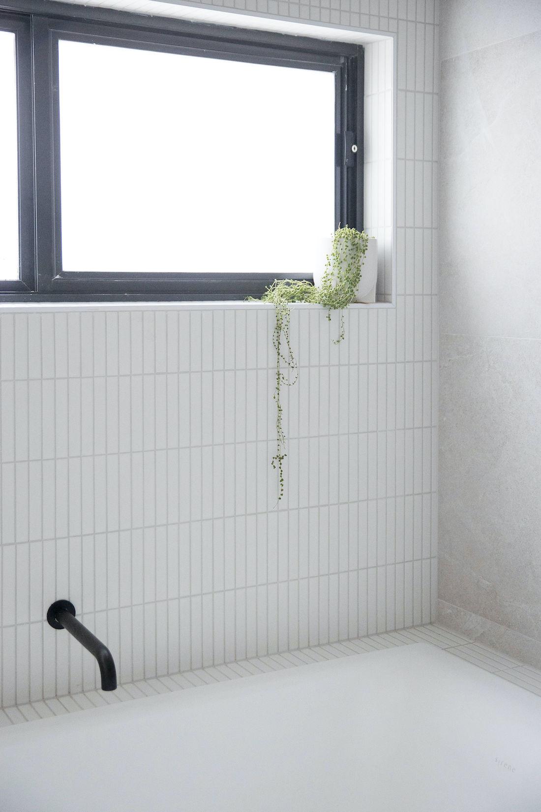 Kit kat tiles around bath in Bathroom renovation
