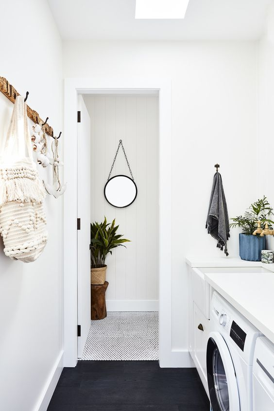 Laundry with wall hooks