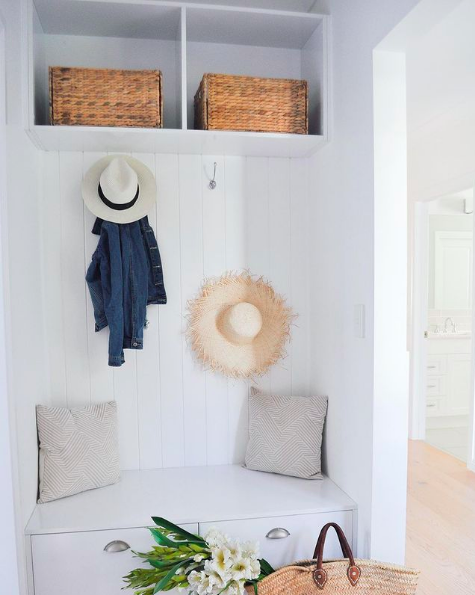 Bench seat with upper storage in mudroom nook