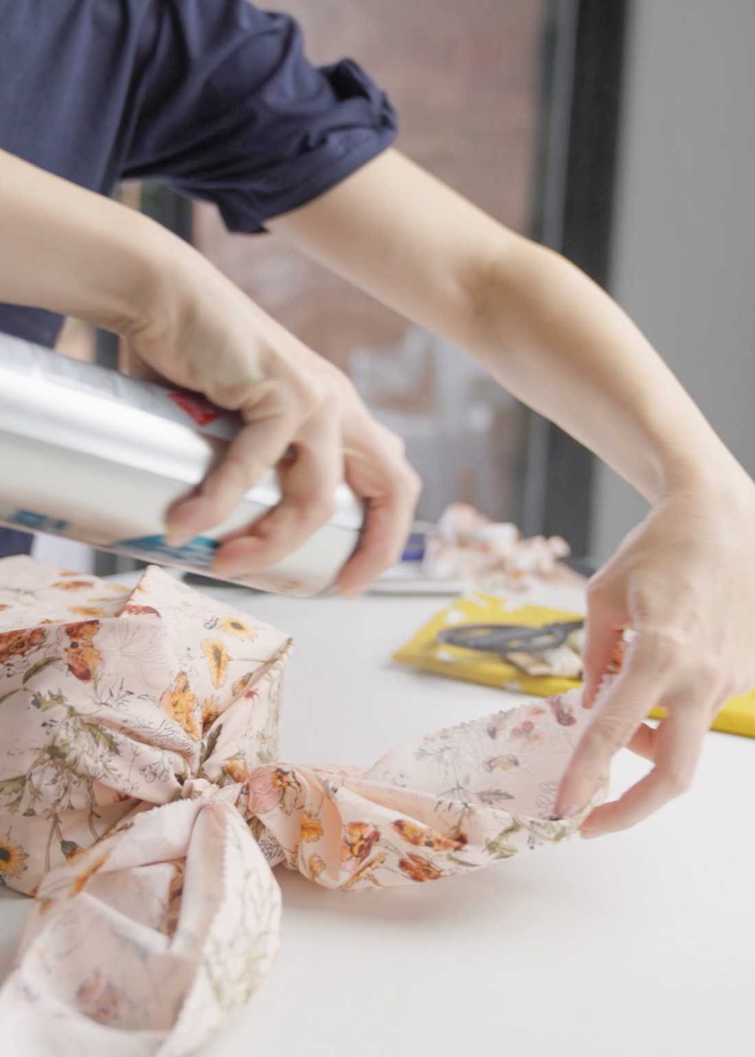 Spray ears in place Wrap a gift like a bunny using fabric
