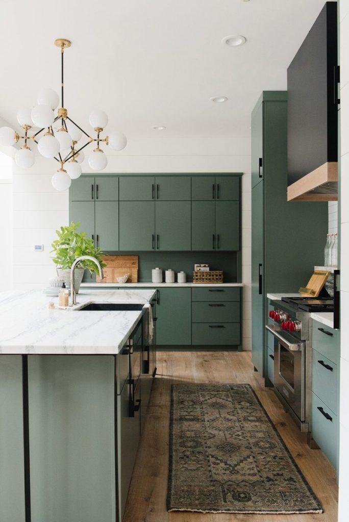 Studio McGee green kitchen