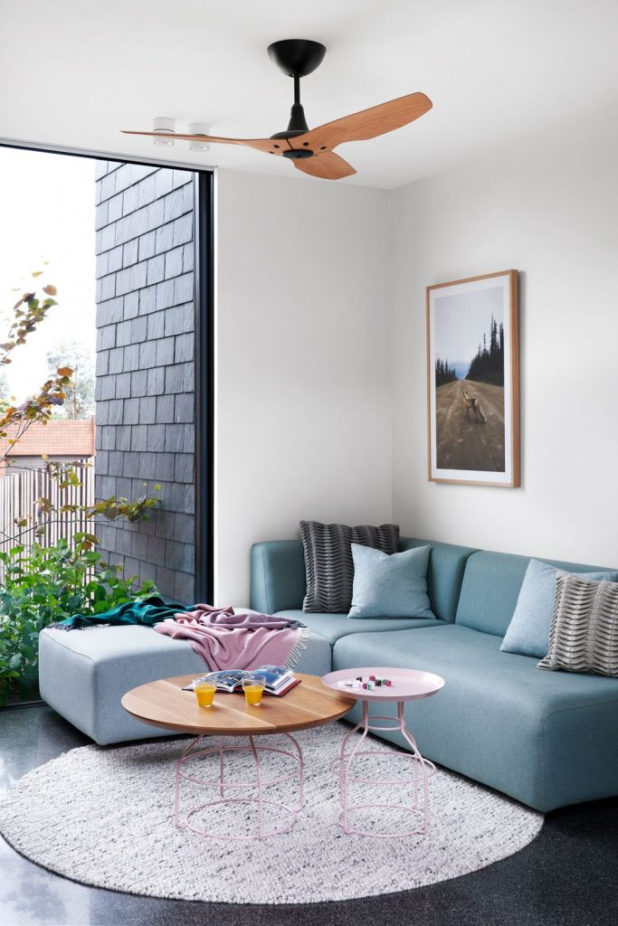 Duck egg blue corner sofa