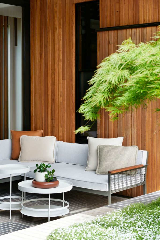Outdoor seating in courtyard of home