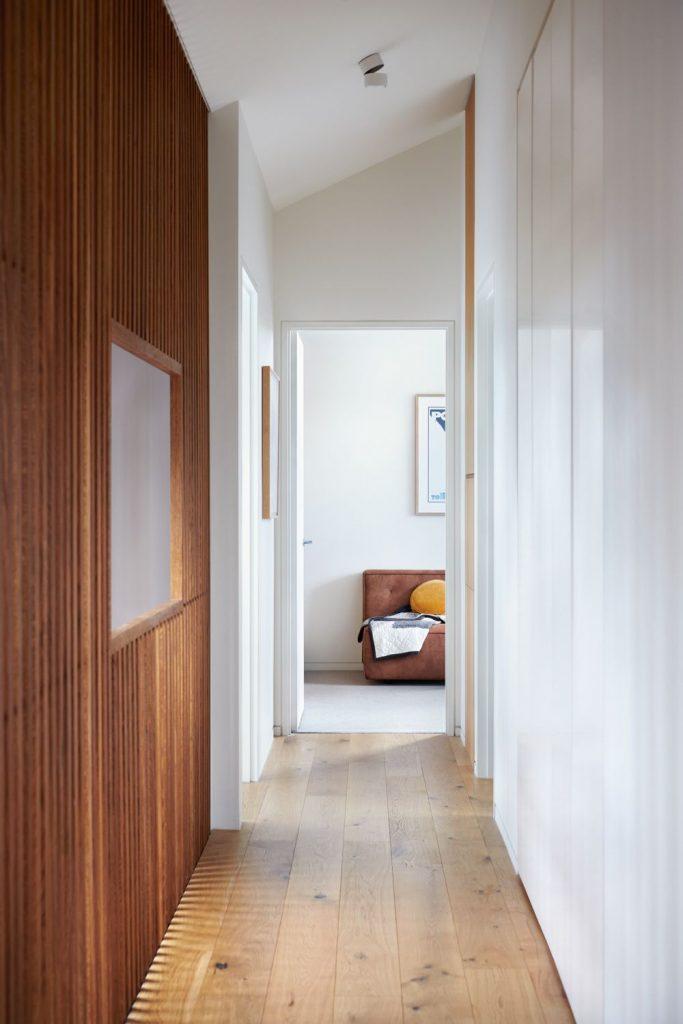 Timber batten wall of hallway