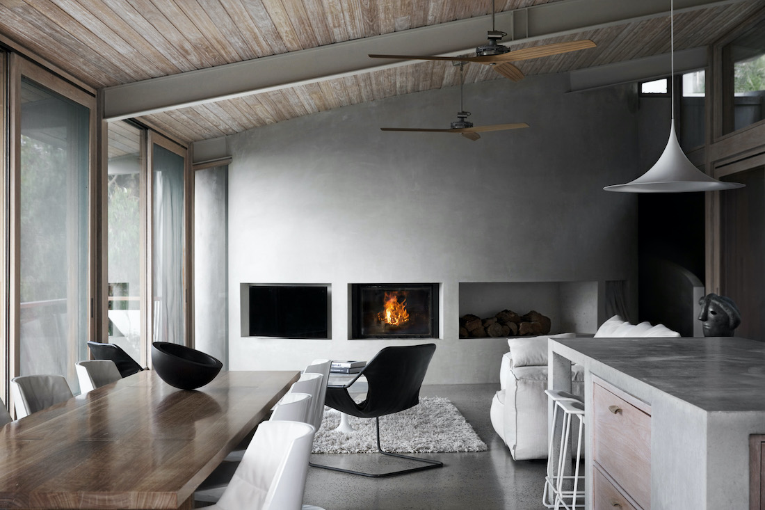Ocean house living room and fireplace