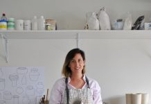 Alice Bell ceramic artist in studio