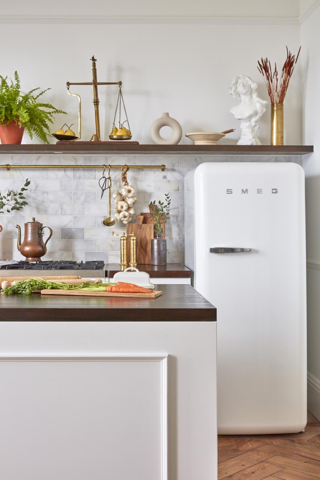 Belle Vue Georgian apartment renovated kitchen with SMEG fridge