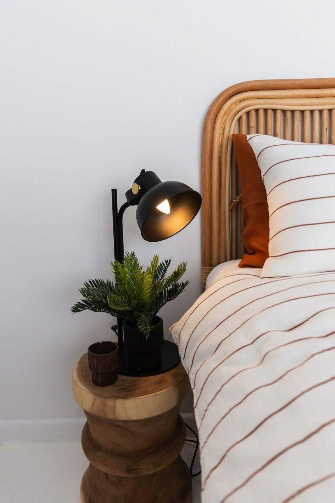 Pinstripe bedding at Casey Street Orange