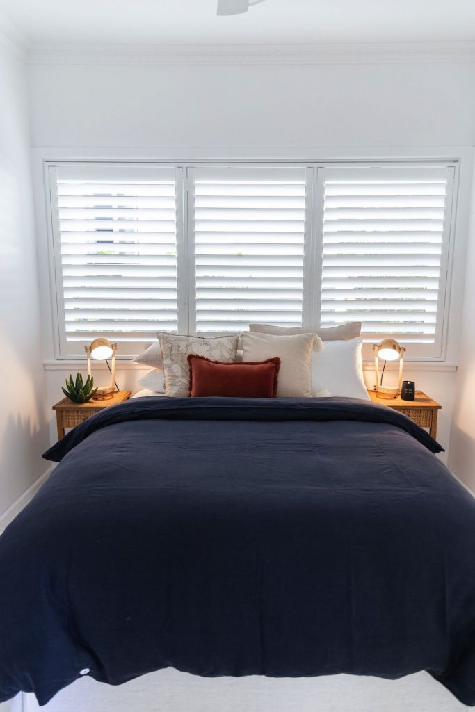 Navy bedroom at Casey Street Orange