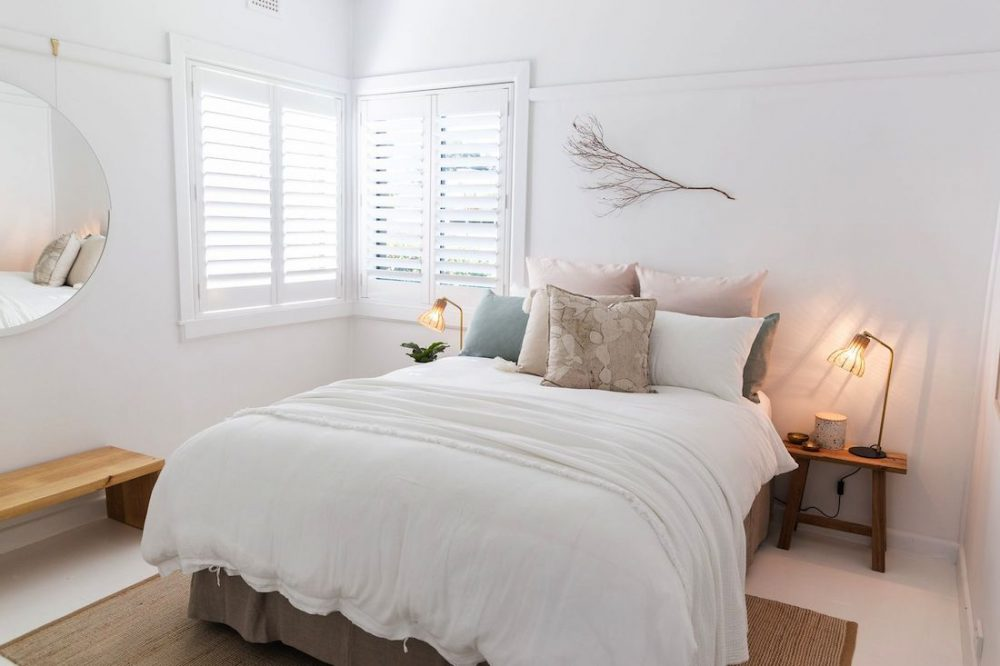 White bedroom in Casey Street home Orange