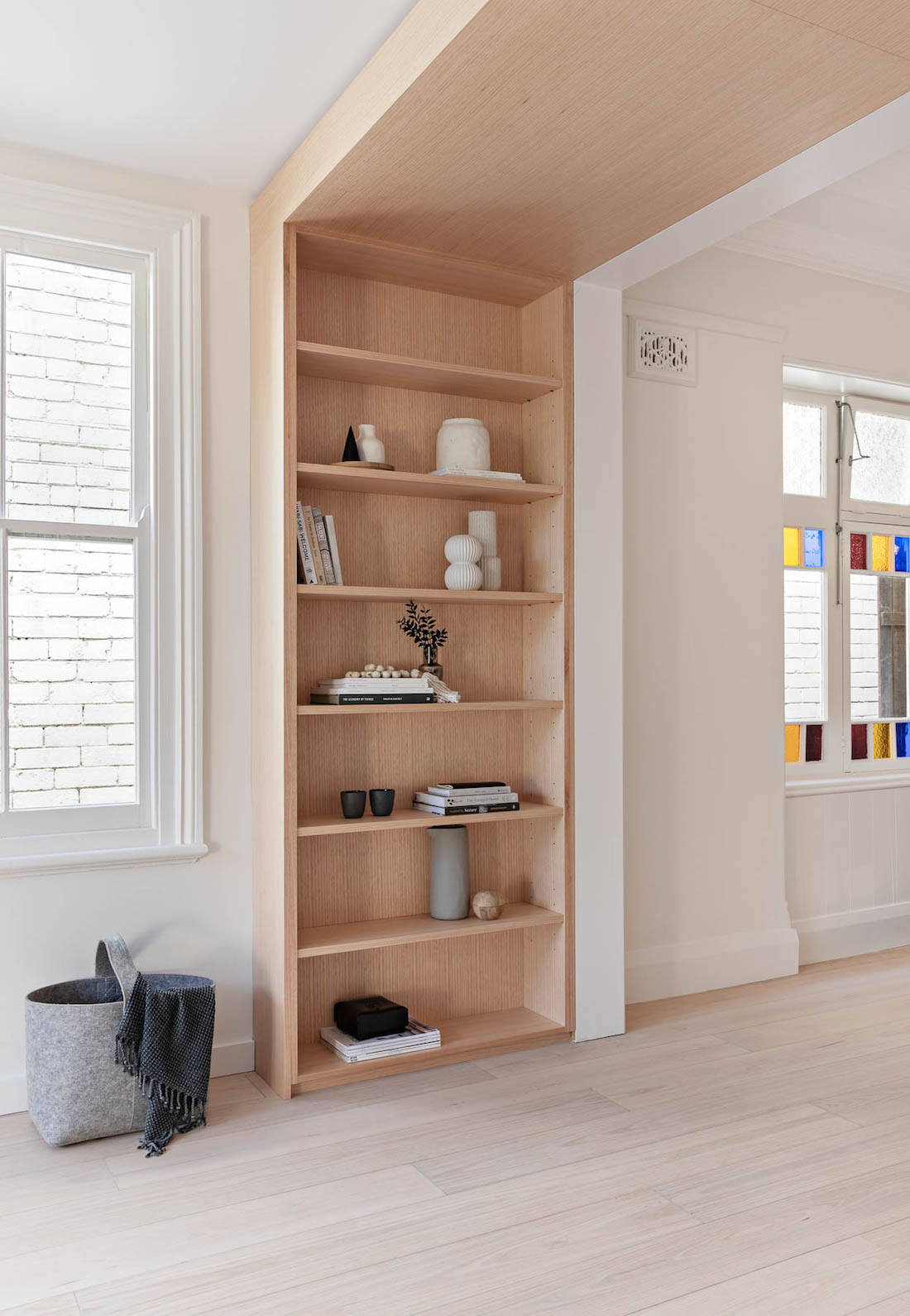 Timber bulkhead bookshelf