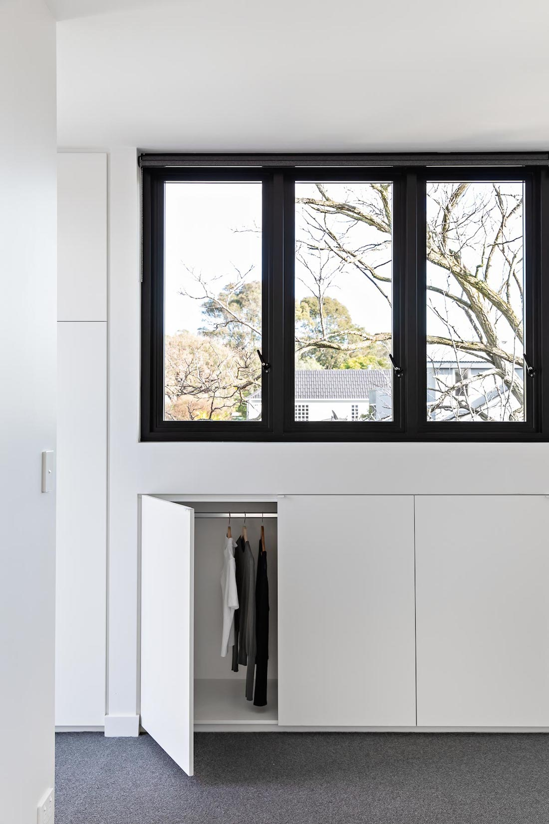 Clever under window storage in bedroom