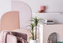 Fake indoor plants in pink living room