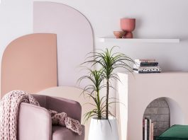 Fake indoor plants in pink living room
