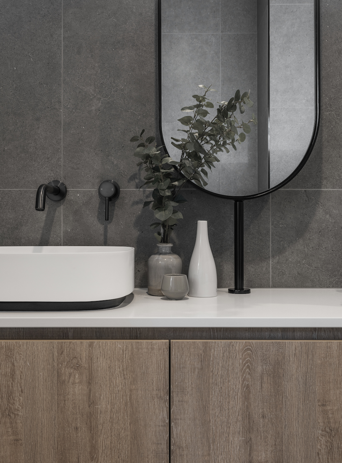 Timber vanity with oval mirror