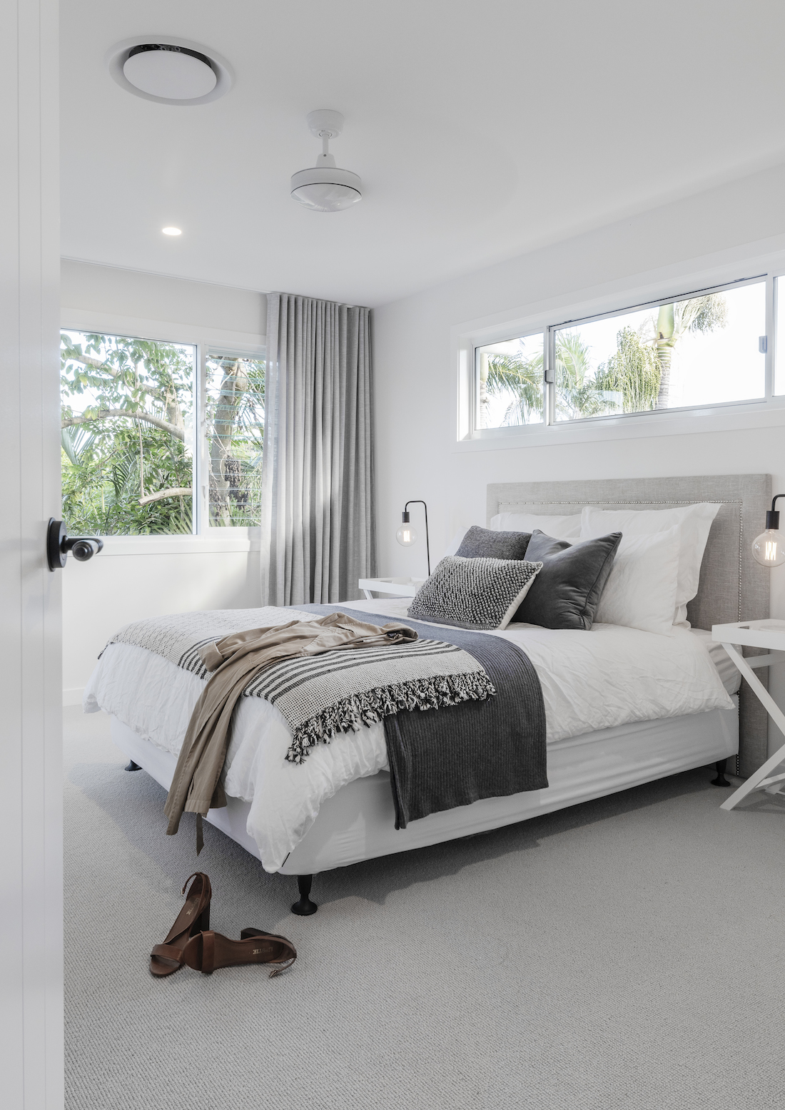 White bedroom with grey accents