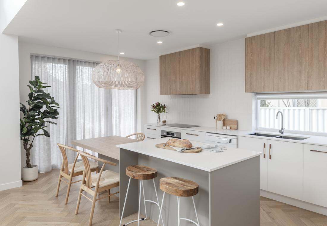 Small kitchen with built-in dining table