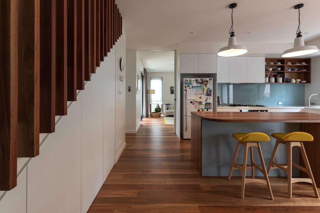 Green kitchen of Ribbon House