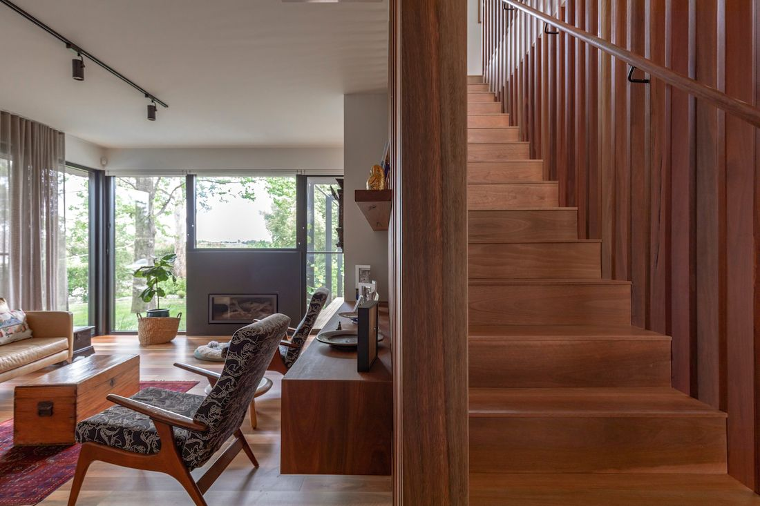 Timber staircase of Ribbon House