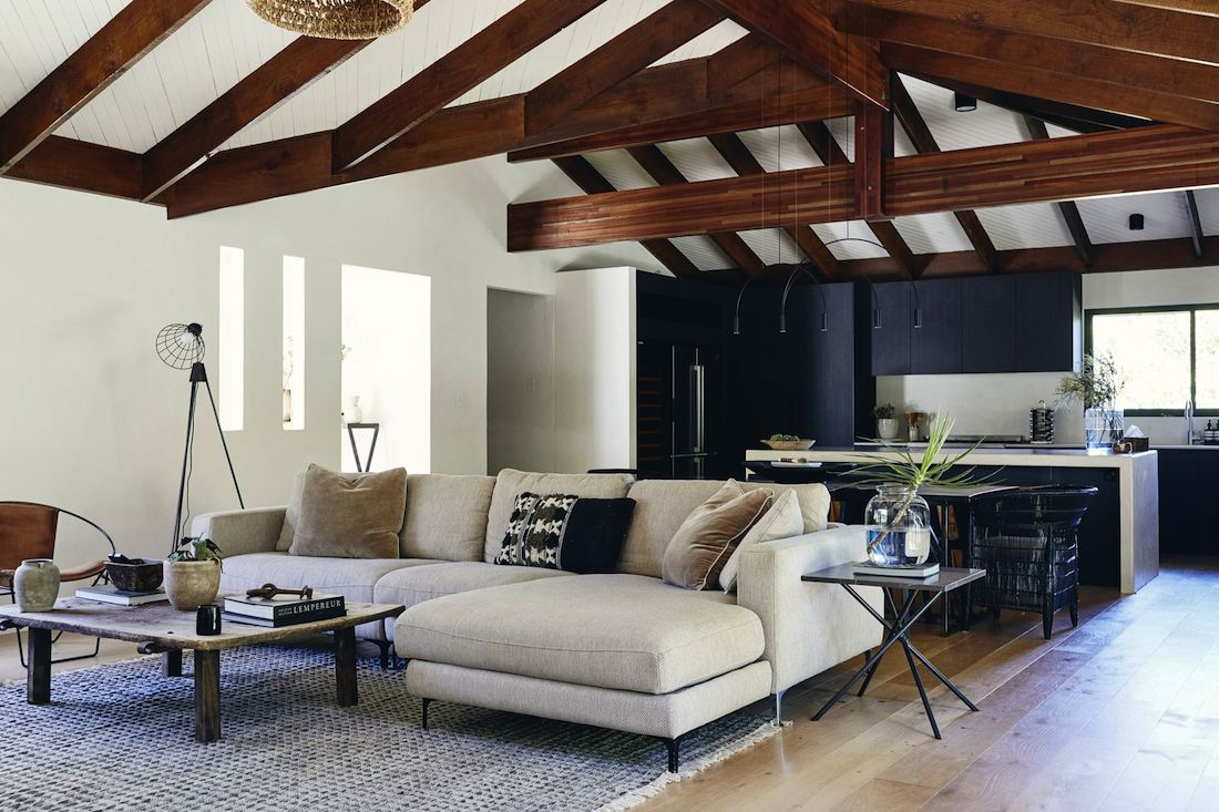 Exposed beams and vaulted ceilings
