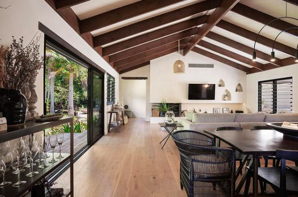 Two Acres Homes_exposed beams in living room