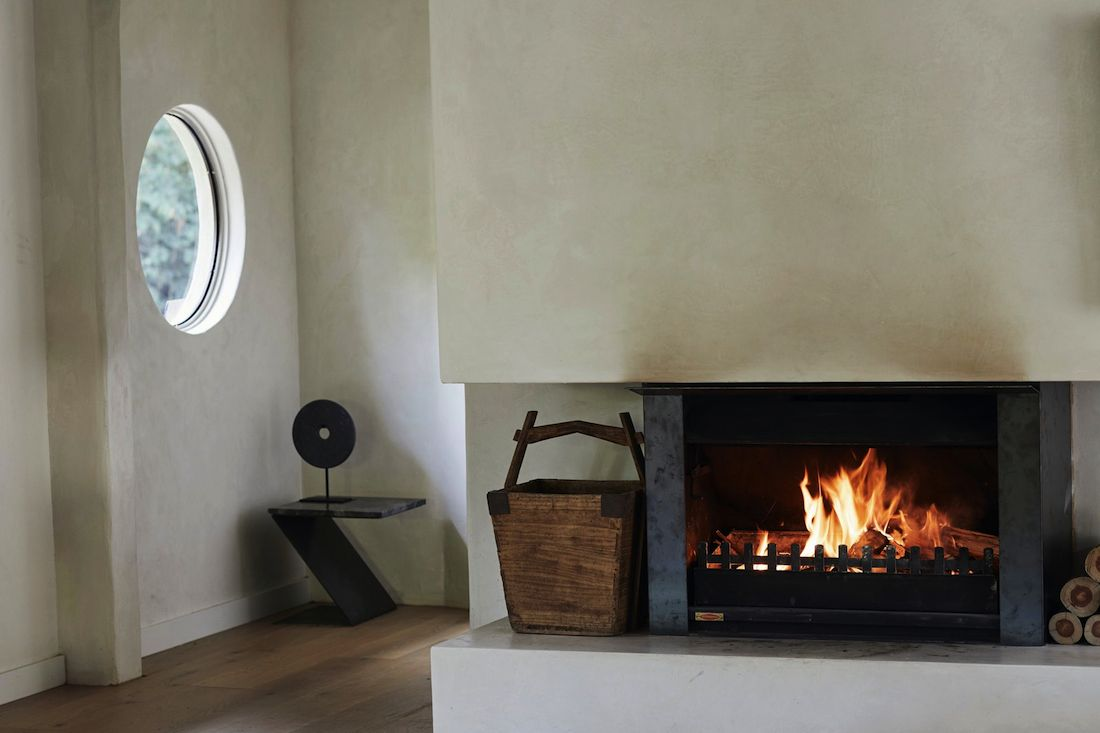 Rendered walls with fireplace