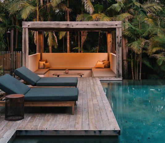 Tropical pool with sunken pool cabana